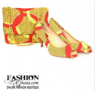 FashionGhana_yellow_red_clutch_shoes